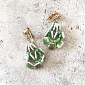 Vintage 60s MCM Lime Green Clip On Earrings